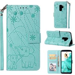 Embossing Fireworks Elephant Leather Wallet Case for Samsung Galaxy S9 Plus(S9+) - Green