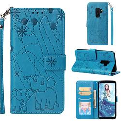 Embossing Fireworks Elephant Leather Wallet Case for Samsung Galaxy S9 Plus(S9+) - Blue