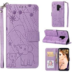 Embossing Fireworks Elephant Leather Wallet Case for Samsung Galaxy S9 Plus(S9+) - Purple