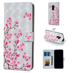 Butterfly Sakura Flower 3D Painted Leather Phone Wallet Case for Samsung Galaxy S9 Plus(S9+)