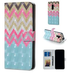 Color Wave 3D Painted Leather Phone Wallet Case for Samsung Galaxy S9 Plus(S9+)