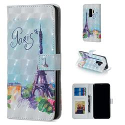 Paris Tower 3D Painted Leather Phone Wallet Case for Samsung Galaxy S9 Plus(S9+)