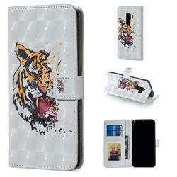 Toothed Tiger 3D Painted Leather Phone Wallet Case for Samsung Galaxy S9 Plus(S9+)