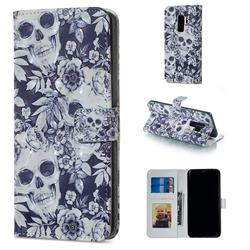 Skull Flower 3D Painted Leather Phone Wallet Case for Samsung Galaxy S9 Plus(S9+)
