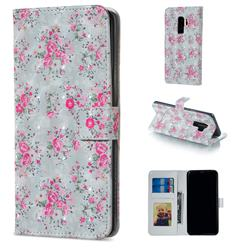 Roses Flower 3D Painted Leather Phone Wallet Case for Samsung Galaxy S9 Plus(S9+)