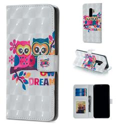 Couple Owl 3D Painted Leather Phone Wallet Case for Samsung Galaxy S9 Plus(S9+)