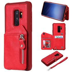 Classic Luxury Buckle Zipper Anti-fall Leather Phone Back Cover for Samsung Galaxy S9 Plus(S9+) - Red