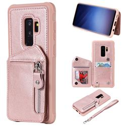 Classic Luxury Buckle Zipper Anti-fall Leather Phone Back Cover for Samsung Galaxy S9 Plus(S9+) - Pink
