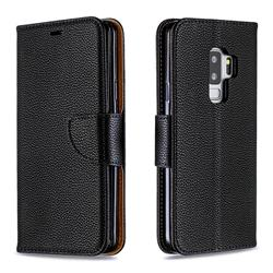 Classic Luxury Litchi Leather Phone Wallet Case for Samsung Galaxy S9 Plus(S9+) - Black