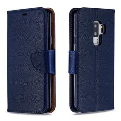 Classic Luxury Litchi Leather Phone Wallet Case for Samsung Galaxy S9 Plus(S9+) - Blue