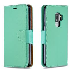 Classic Luxury Litchi Leather Phone Wallet Case for Samsung Galaxy S9 Plus(S9+) - Green
