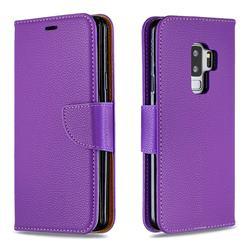 Classic Luxury Litchi Leather Phone Wallet Case for Samsung Galaxy S9 Plus(S9+) - Purple