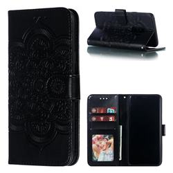 Intricate Embossing Datura Solar Leather Wallet Case for Samsung Galaxy S9 Plus(S9+) - Black