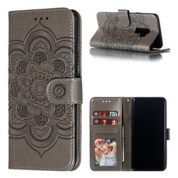 Intricate Embossing Datura Solar Leather Wallet Case for Samsung Galaxy S9 Plus(S9+) - Gray