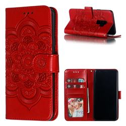 Intricate Embossing Datura Solar Leather Wallet Case for Samsung Galaxy S9 Plus(S9+) - Red