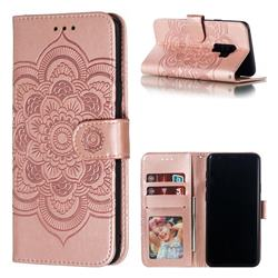 Intricate Embossing Datura Solar Leather Wallet Case for Samsung Galaxy S9 Plus(S9+) - Rose Gold
