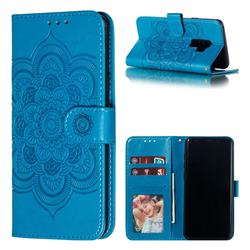 Intricate Embossing Datura Solar Leather Wallet Case for Samsung Galaxy S9 Plus(S9+) - Blue