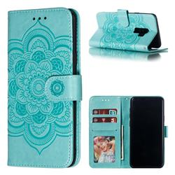 Intricate Embossing Datura Solar Leather Wallet Case for Samsung Galaxy S9 Plus(S9+) - Green