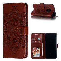 Intricate Embossing Datura Solar Leather Wallet Case for Samsung Galaxy S9 Plus(S9+) - Brown