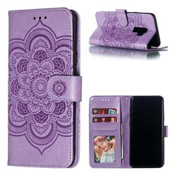 Intricate Embossing Datura Solar Leather Wallet Case for Samsung Galaxy S9 Plus(S9+) - Purple