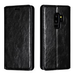 Retro Slim Magnetic Crazy Horse PU Leather Wallet Case for Samsung Galaxy S9 Plus(S9+) - Black