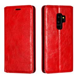 Retro Slim Magnetic Crazy Horse PU Leather Wallet Case for Samsung Galaxy S9 Plus(S9+) - Red