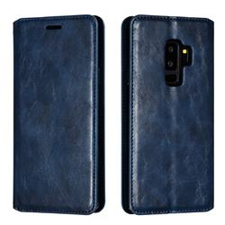 Retro Slim Magnetic Crazy Horse PU Leather Wallet Case for Samsung Galaxy S9 Plus(S9+) - Blue