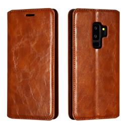 Retro Slim Magnetic Crazy Horse PU Leather Wallet Case for Samsung Galaxy S9 Plus(S9+) - Brown