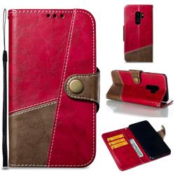 Retro Magnetic Stitching Wallet Flip Cover for Samsung Galaxy S9 Plus(S9+) - Rose Red
