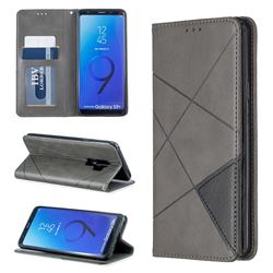 Prismatic Slim Magnetic Sucking Stitching Wallet Flip Cover for Samsung Galaxy S9 Plus(S9+) - Gray