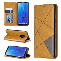Prismatic Slim Magnetic Sucking Stitching Wallet Flip Cover for Samsung Galaxy S9 Plus(S9+) - Yellow