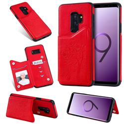 Luxury Tree and Cat Multifunction Magnetic Card Slots Stand Leather Phone Back Cover for Samsung Galaxy S9 Plus(S9+) - Red