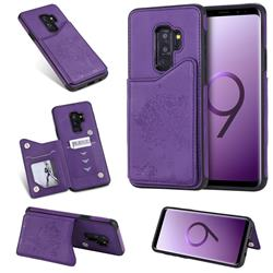Luxury Tree and Cat Multifunction Magnetic Card Slots Stand Leather Phone Back Cover for Samsung Galaxy S9 Plus(S9+) - Purple