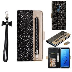 Luxury Lace Zipper Stitching Leather Phone Wallet Case for Samsung Galaxy S9 Plus(S9+) - Black