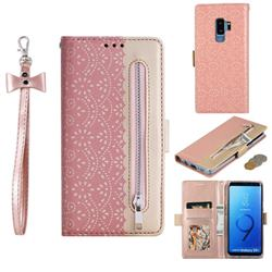 Luxury Lace Zipper Stitching Leather Phone Wallet Case for Samsung Galaxy S9 Plus(S9+) - Pink