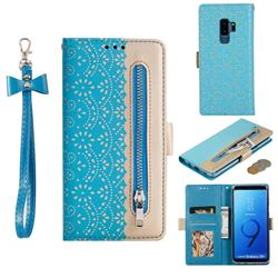 Luxury Lace Zipper Stitching Leather Phone Wallet Case for Samsung Galaxy S9 Plus(S9+) - Blue