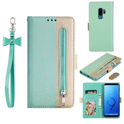 Luxury Lace Zipper Stitching Leather Phone Wallet Case for Samsung Galaxy S9 Plus(S9+) - Green