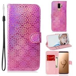Laser Circle Shining Leather Wallet Phone Case for Samsung Galaxy S9 Plus(S9+) - Pink