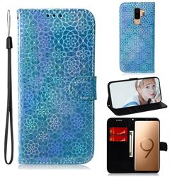 Laser Circle Shining Leather Wallet Phone Case for Samsung Galaxy S9 Plus(S9+) - Blue