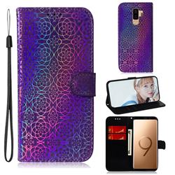 Laser Circle Shining Leather Wallet Phone Case for Samsung Galaxy S9 Plus(S9+) - Purple