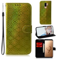 Laser Circle Shining Leather Wallet Phone Case for Samsung Galaxy S9 Plus(S9+) - Golden