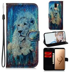 White Lion Laser Shining Leather Wallet Phone Case for Samsung Galaxy S9 Plus(S9+)
