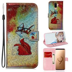 Glasses Fox Laser Shining Leather Wallet Phone Case for Samsung Galaxy S9 Plus(S9+)