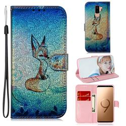 Cute Fox Laser Shining Leather Wallet Phone Case for Samsung Galaxy S9 Plus(S9+)