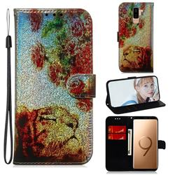 Tiger Rose Laser Shining Leather Wallet Phone Case for Samsung Galaxy S9 Plus(S9+)