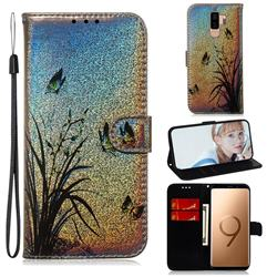 Butterfly Orchid Laser Shining Leather Wallet Phone Case for Samsung Galaxy S9 Plus(S9+)