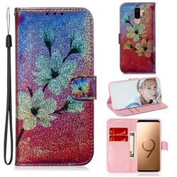 Magnolia Laser Shining Leather Wallet Phone Case for Samsung Galaxy S9 Plus(S9+)
