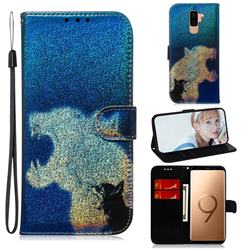 Cat and Leopard Laser Shining Leather Wallet Phone Case for Samsung Galaxy S9 Plus(S9+)