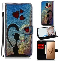 Love Cat Laser Shining Leather Wallet Phone Case for Samsung Galaxy S9 Plus(S9+)