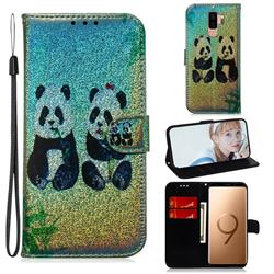 Two Pandas Laser Shining Leather Wallet Phone Case for Samsung Galaxy S9 Plus(S9+)